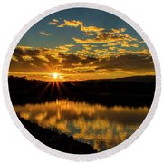 Sunset Over Lake Weiss Round Beach Towel by Barbara Bowen