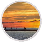 Round Beach Towel featuring the photograph Sunset Over Ludington Panoramic by Adam Romanowicz