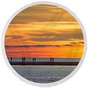 Sunset Over Ludington Panoramic Round Beach Towel