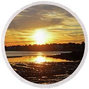 Sunset Over Lynch Park Beverly Ma Round Beach Towel