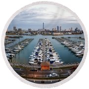 Sunset Over Marina Round Beach Towel