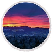 Sunset Over Marquam Hill Round Beach Towel