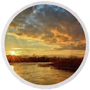 Sunset Over Marsh Round Beach Towel by Bonfire Photography