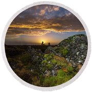 Sunset Over Marsh Round Beach Towel by Joe Belanger