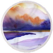 Round Beach Towel featuring the painting Sunset Over Marsh by Yolanda Koh