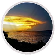 Sunset Over Mobile Bay Round Beach Towel