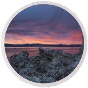 Round Beach Towel featuring the photograph Sunset Over Mono Lake by Sandra Bronstein