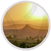 Round Beach Towel featuring the photograph Sunset Over Mt Sugarloaf by Keiran Lusk