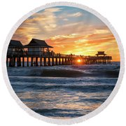 Round Beach Towel featuring the photograph Sunset Over Naples Pier by Brian Jannsen