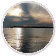 Sunset Over Narragansett Round Beach Towel
