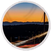 Sunset Over Narrrows Bridge Panorama Round Beach Towel