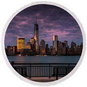 Sunset Over New World Trade Center New York City Round Beach Towel