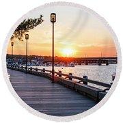 Sunset Over Newburyport Ma Merrimack River Newburyport Turnpike Round Beach Towel