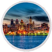 Sunset Over Philadelphia Round Beach Towel by Louis Dallara
