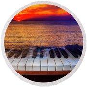 Sunset Over Piano Keys Round Beach Towel