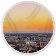 Sunset Over Portland Cityscape And Mt Saint Helens Round Beach Towel