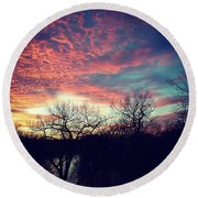 Sunset Over River Round Beach Towel