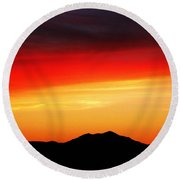Sunset Over Santa Fe Mountains Round Beach Towel