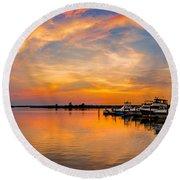 Sunset Over Shrewsbury Bay Round Beach Towel