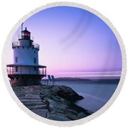 Sunset Over Spring Breakwater Lighthouse In South Maine Round Beach Towel