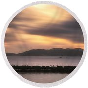 Round Beach Towel featuring the photograph Sunset Over St. John And St. Thomas Panoramic by Adam Romanowicz