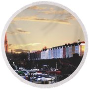 Round Beach Towel featuring the photograph Sunset Over St Mary Redcliffe Bristol by Terri Waters