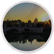 Sunset Over St Peters Round Beach Towel