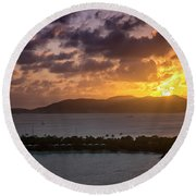Round Beach Towel featuring the photograph Sunset Over St. Thomas by Adam Romanowicz