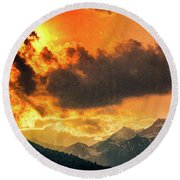 Round Beach Towel featuring the photograph Sunset Over The Alps by Silvia Ganora