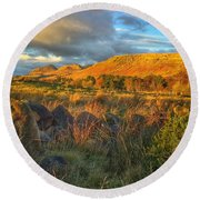 Sunset Over The Campsie Fells Round Beach Towel