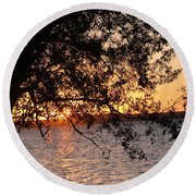 Sunset Over The Caribbean In Cienfuegos, Cuba Round Beach Towel