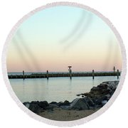 Sunset Over The Chesapeake Bay Round Beach Towel