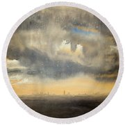 Round Beach Towel featuring the painting Sunset Over The City by Andrew King
