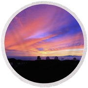 Sunset Over The Clouds Round Beach Towel
