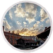 Sunset Over The Gondola Shop In Venice Round Beach Towel by Jean Haynes