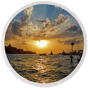 Sunset Over The Grand Canal In Venice Round Beach Towel by Jean Haynes