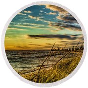 Sunset Over The Great Lake Round Beach Towel