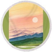 Sunset Over The Hills Round Beach Towel