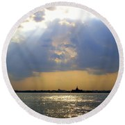 Sunset Over The Hudson 3 Round Beach Towel by Randall Weidner