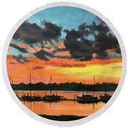 Sunset Over The Marina Round Beach Towel