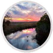 Sunset Over The Marsh Round Beach Towel