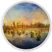 Sunset Over The Okefenokee Round Beach Towel