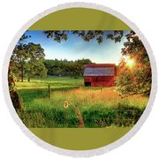 Sunset Over The Old Barn Round Beach Towel