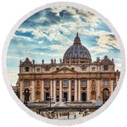 Sunset Over The Papal Basilica Of Saint Peter Round Beach Towel