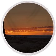 Sunset Over The Petrified Dunes Round Beach Towel