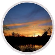 Sunset Over The Sabine 02 Round Beach Towel