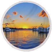 Sunset Over The Sailfish Marina In Riviera Beach Florida Round Beach Towel