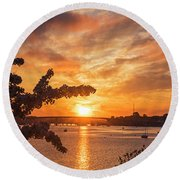 Sunset Over The Salem Beverly Bridge From The Salem Willows Salem Ma Round Beach Towel