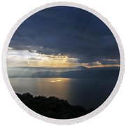 Sunset Over The Sea Of Galilee Round Beach Towel