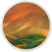 Sunset Over The Sea Of Worries Round Beach Towel by Giada Rossi
